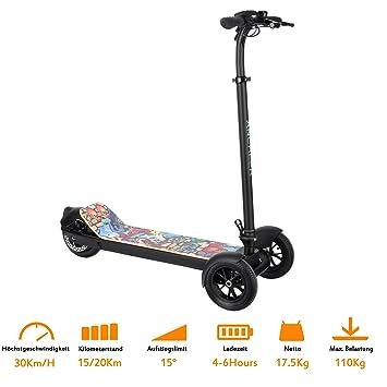 ancheer plegable eléctrico Scooter eléctrico Patinete con la rueda trasera de freno de disco, hinchable