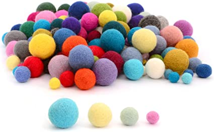 120 Pcs Glaciart One Felt Pom Poms Red, Pink, Blue, Yellow, Pastel and More 3 Sizes: 1.5 Felt Balls 2 and 2.5 centimeters Bulk Small Puff for Felting and Garland Handmade Felted 40 Color