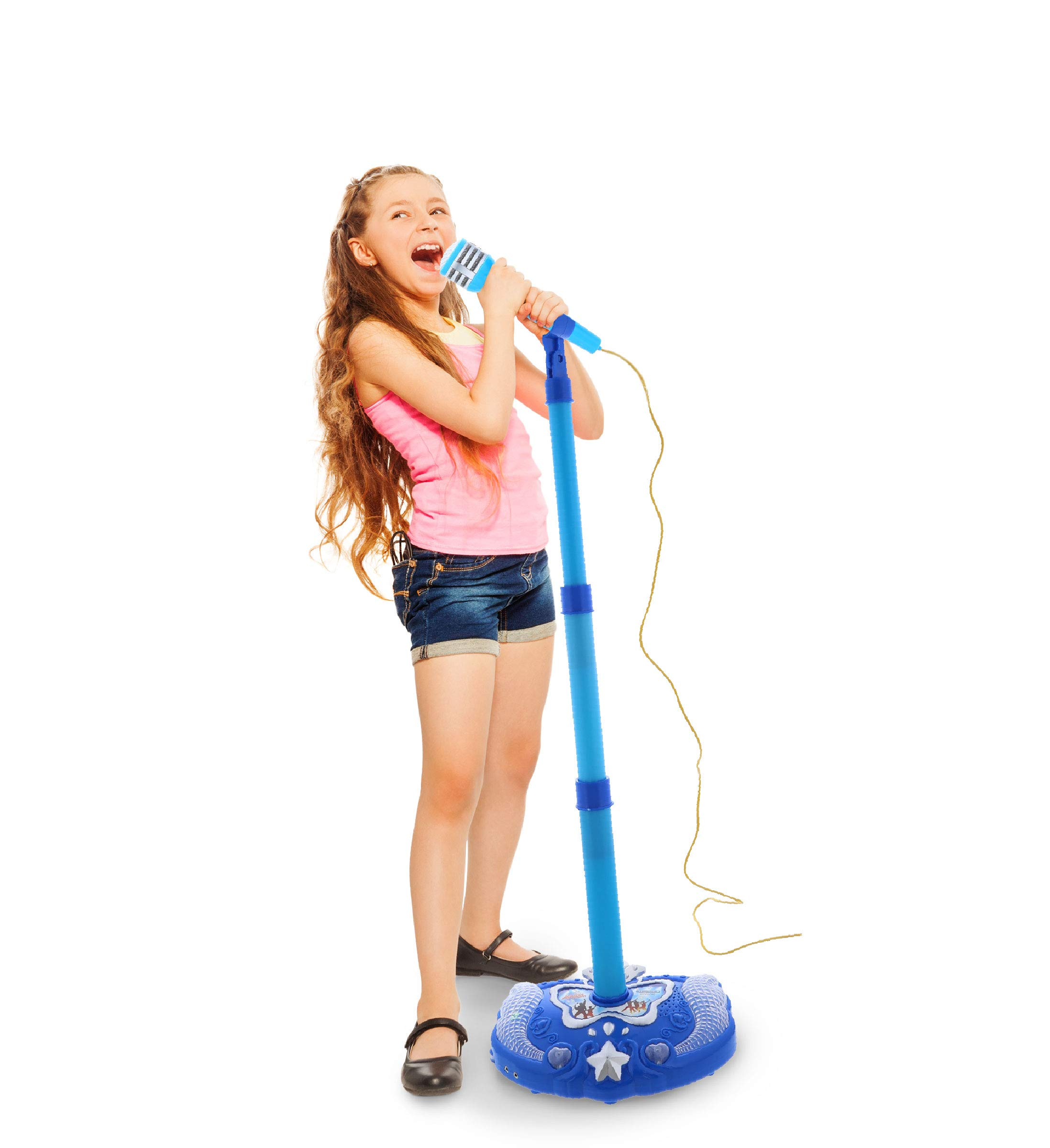 Mozlly Blue Light Up Karaoke Machine with Toy Microphone & Adjustable Stand, Connect to MP3 Player AUX Smart Phones for Solo Singing Parties Sing-A-Along Built in Speaker Flashing Lights for Kids by Mozlly (Image #4)