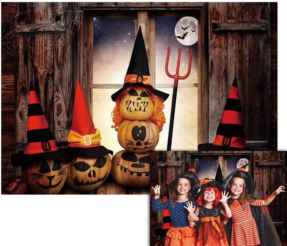 Funnytree 7x5FT Halloween Scary Pumpkins Backdrop Hallowmas Night Window Background Gloomy Moon Trunk or Treat Kids Dress Up Party Supplies Banner Decor Photo Booth Props Favors Gifts