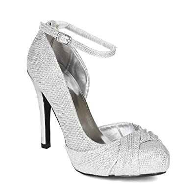 Qupid Women Glitter Open Shank Ankle Strap Ruffled Platform Stiletto Pump BH54 | Pumps