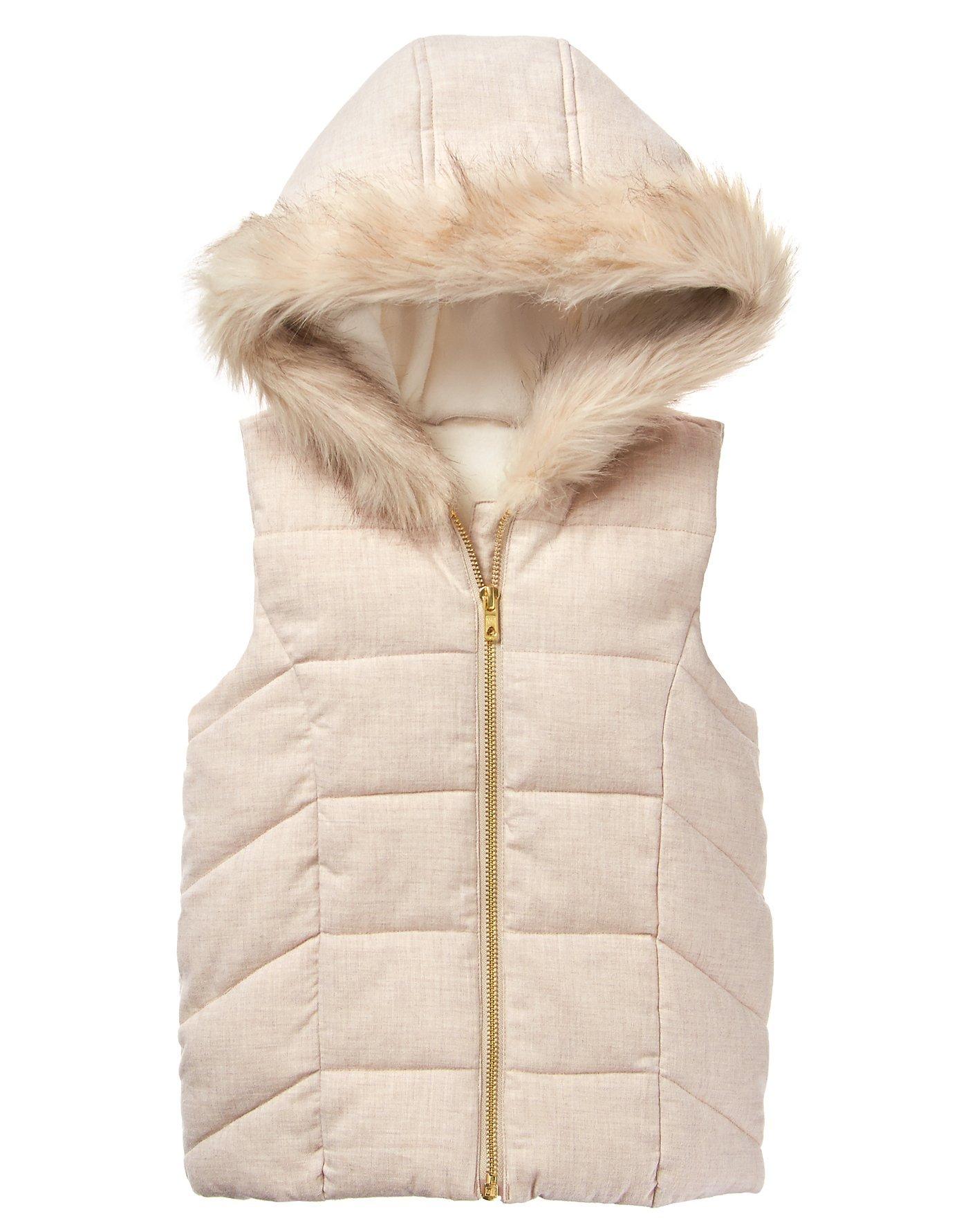 Crazy 8 Little Girls' Faux Fur Puffer Vest, Oatmeal, M