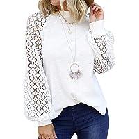 Camiseta de Encaje Crochet para Mujer Tops Túnica de Manga Larga Ahuecados Blusa Sudadera Suelta Casual Patchwork