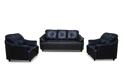 Adorn India Webster Five Seater Sofa Set 3-1-1 (Black)