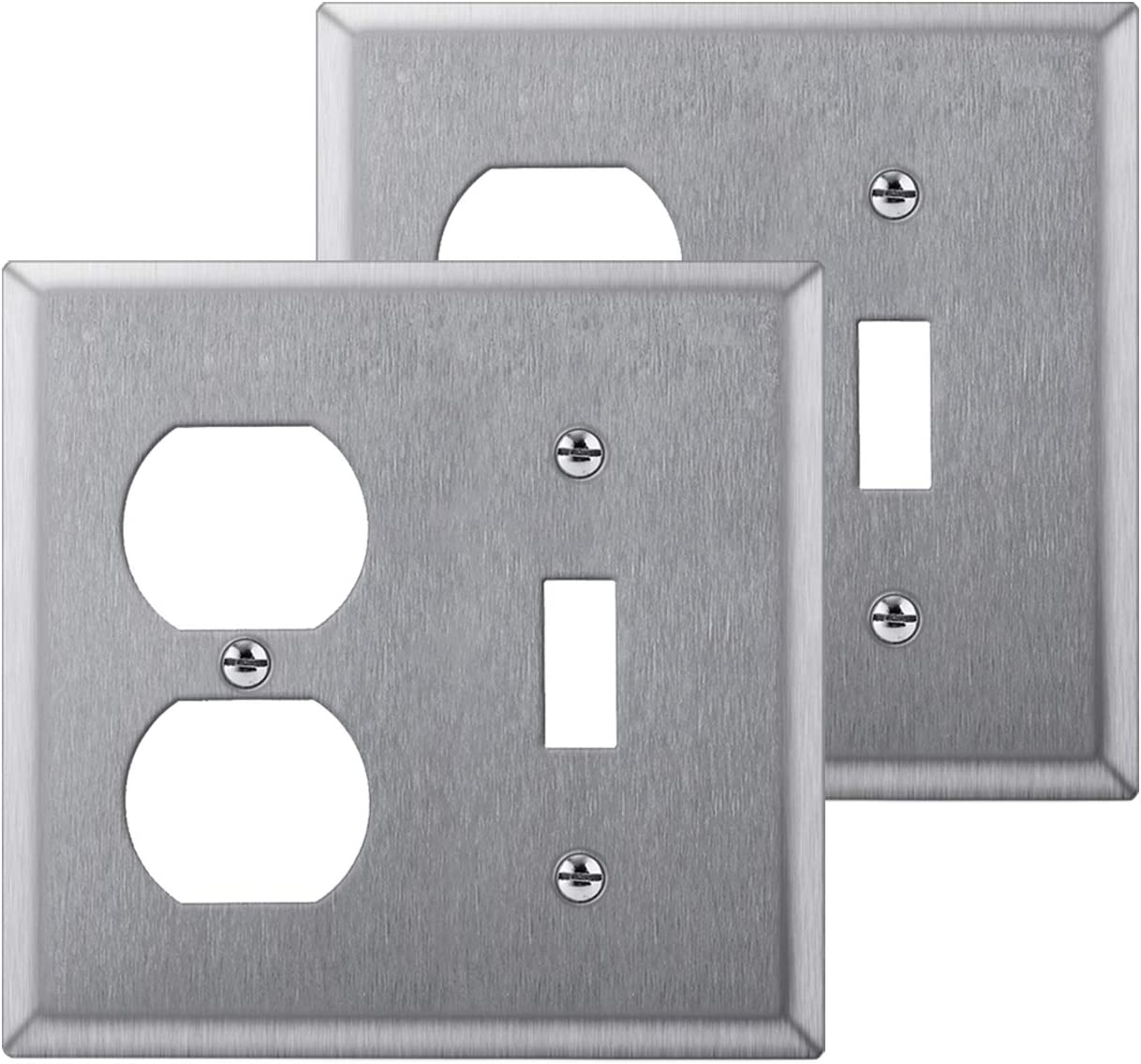 [2 Pack] BESTTEN 2-Gang Combination Metal Wall Plate, 1-Duplex/1-Toggle, Anti-Corrosion Stainless Steel Outlet and Switch Cover, Industrial Grade 304SS, Standard Size, Silver