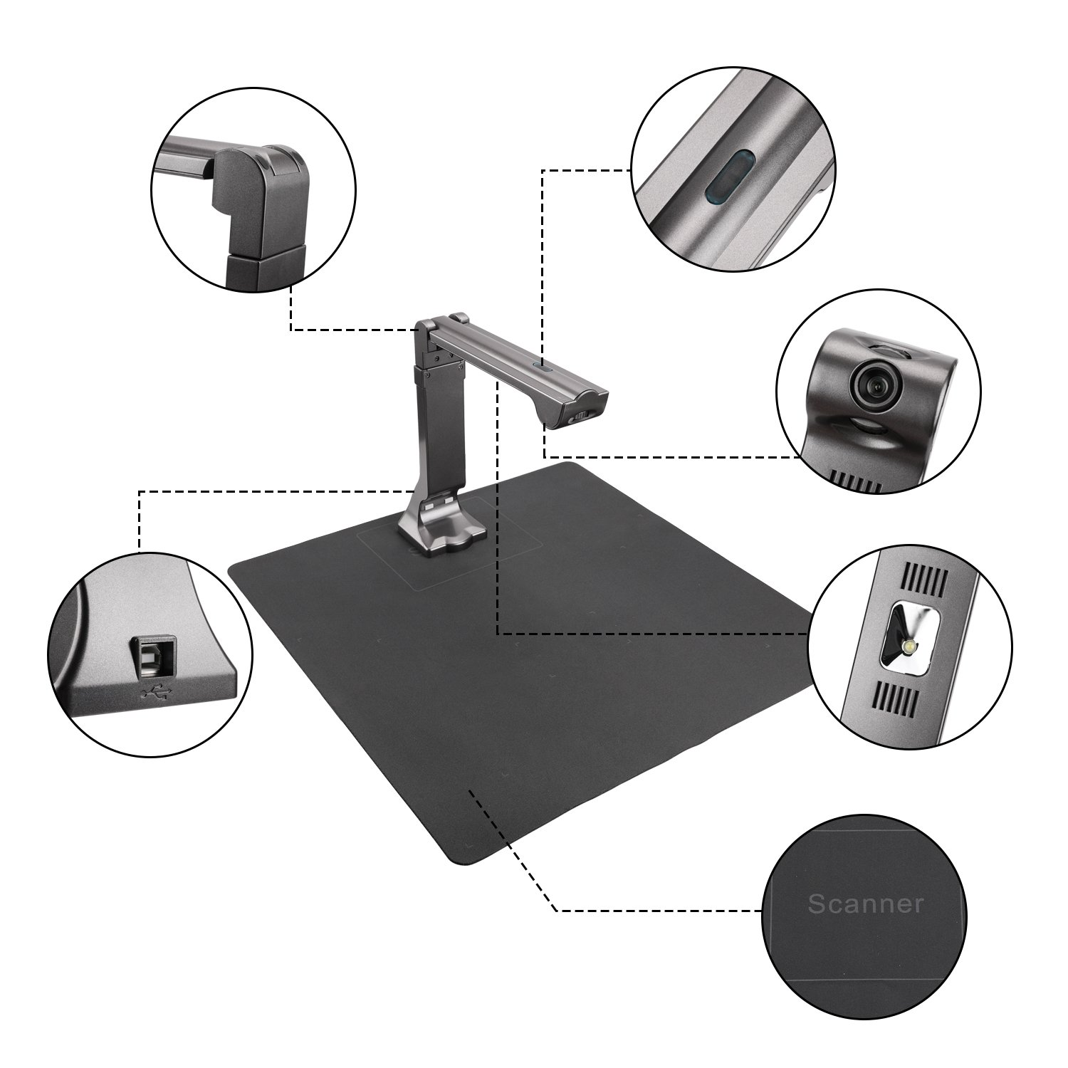 eloam Portable USB Document Camera Scanner S600 with,A3 Capture Size,5 MegaPixel CMOS, High-Definition Digital Visual Presenter by eloam (Image #2)