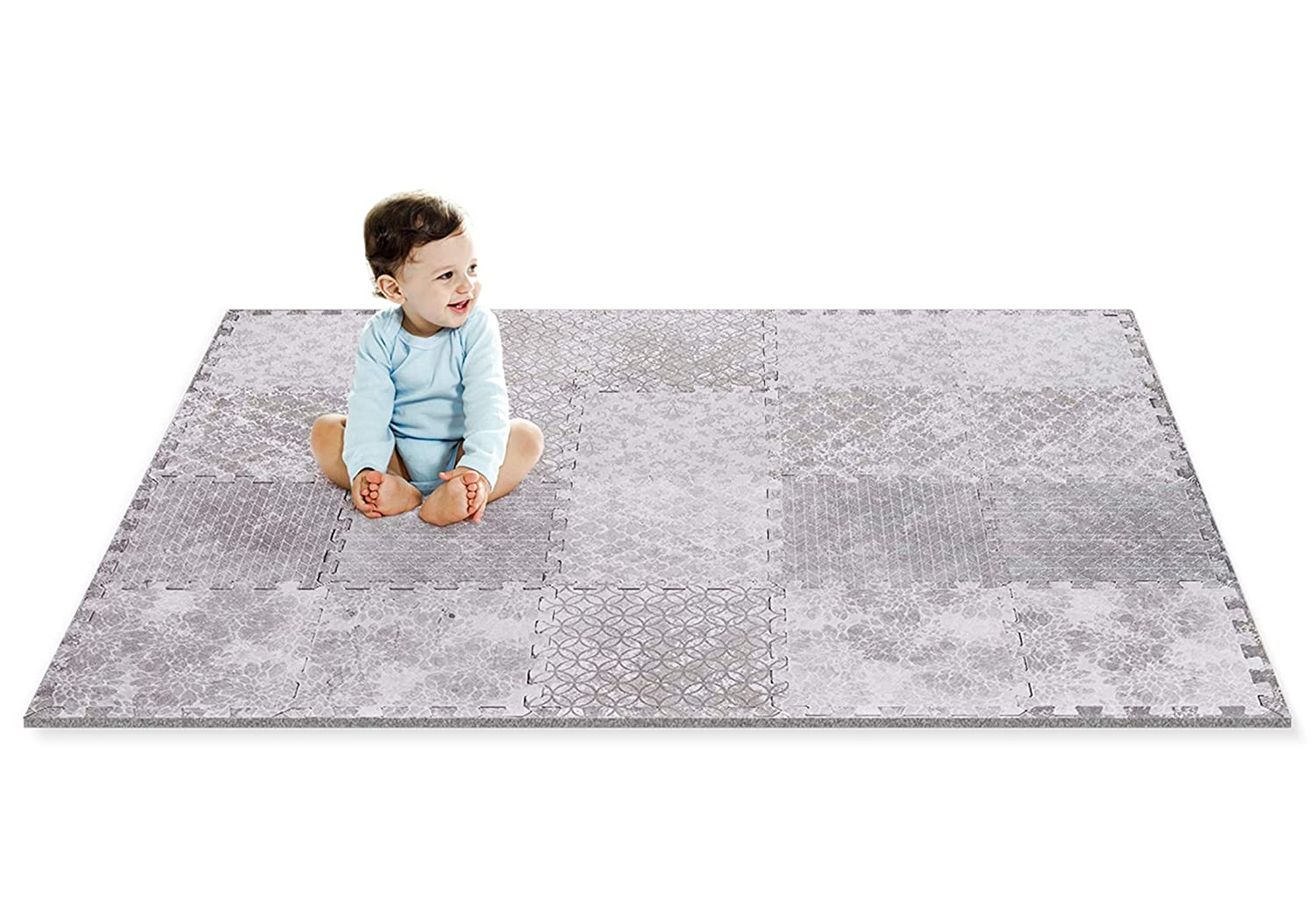 Designer Baby Play Mat - Thick Playmat Baby Mat with Non-Toxic Safety Soft Foam - Baby Floor Mats Tiles Gym for Infants, Babies, Crawling