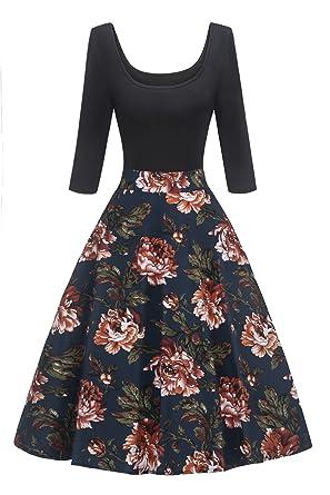 04a07a0ab77053 MisShow Damen Elegant Audrey Hepburn Kleid Langarm A-Linie mit Blumendruck  U-Ausschnitt Partykleider