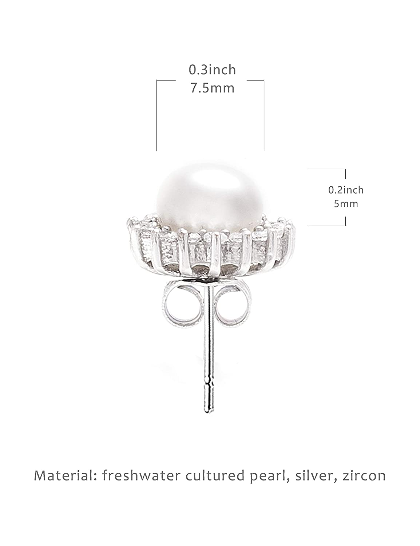 Lantitude Pearl Earrings 7 Styles Stud Earrings Dangle Earrings 925 Sterling Silver Pin Cubic Zirconia Vintage Style Lightweight Earrings for Women Girls