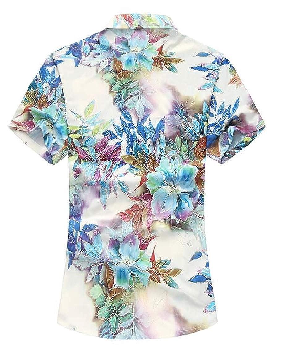 Joe Wenko Mens Printed Casual Comfy Button-Down Short Sleeve Shirt