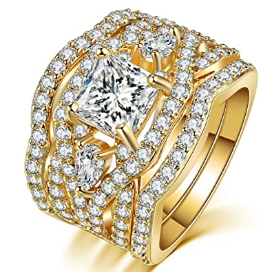 Amazon Com Fendina Women S 3 Pcs Vintage Wedding Ring Sets 18k Gold