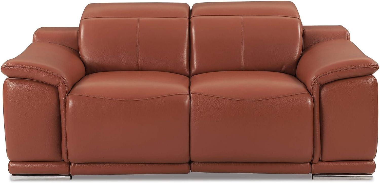 Blackjack Furniture Lorenzo Mid Century Modern Italian Leather Living Room Power Reclining, Loveseat, 72