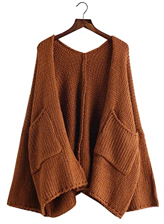 Futurino Women s Solid Slouchy Oversized Knit Open Front Cardigans Sweaters  Coat 8d8c8526b