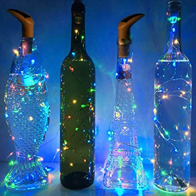 SFgift Set of 6 Pack Solar Powered Wine Bottle Lights, 10 LED Multi Color Light, Cork Shaped Lights for Wedding Christmas, Outdoor, Holiday, Garden, Patio Pathway Decor : Garden & Outdoor