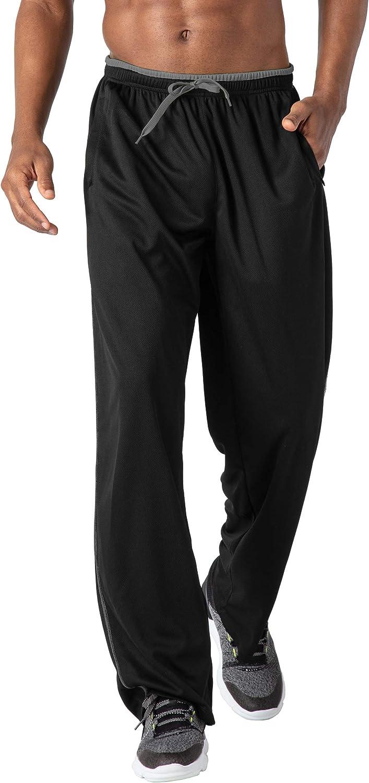 tejido de malla Pantalones de ch/ándal para hombre ligeros con bolsillos con cremallera KEFITEVD bajos abiertos de entrenamiento largos y transpirables suaves