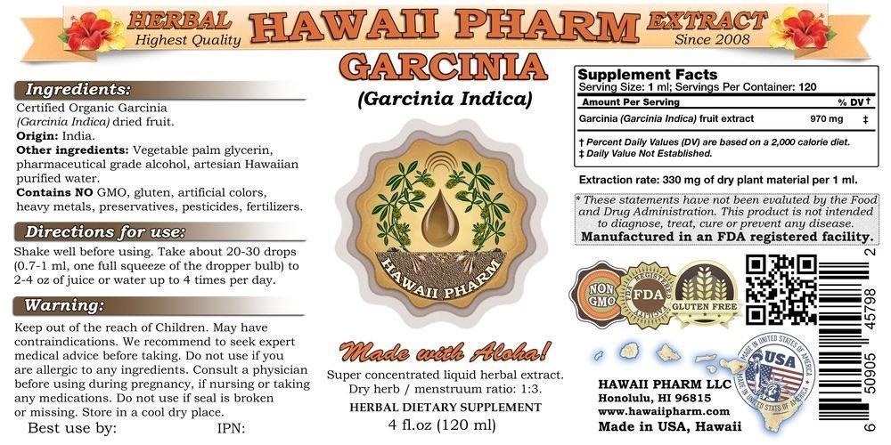 Garcinia Liquid Extract, Organic Garcinia (Garcinia indica) Dried Fruit Tincture Supplement 15x4 oz by HawaiiPharm (Image #2)