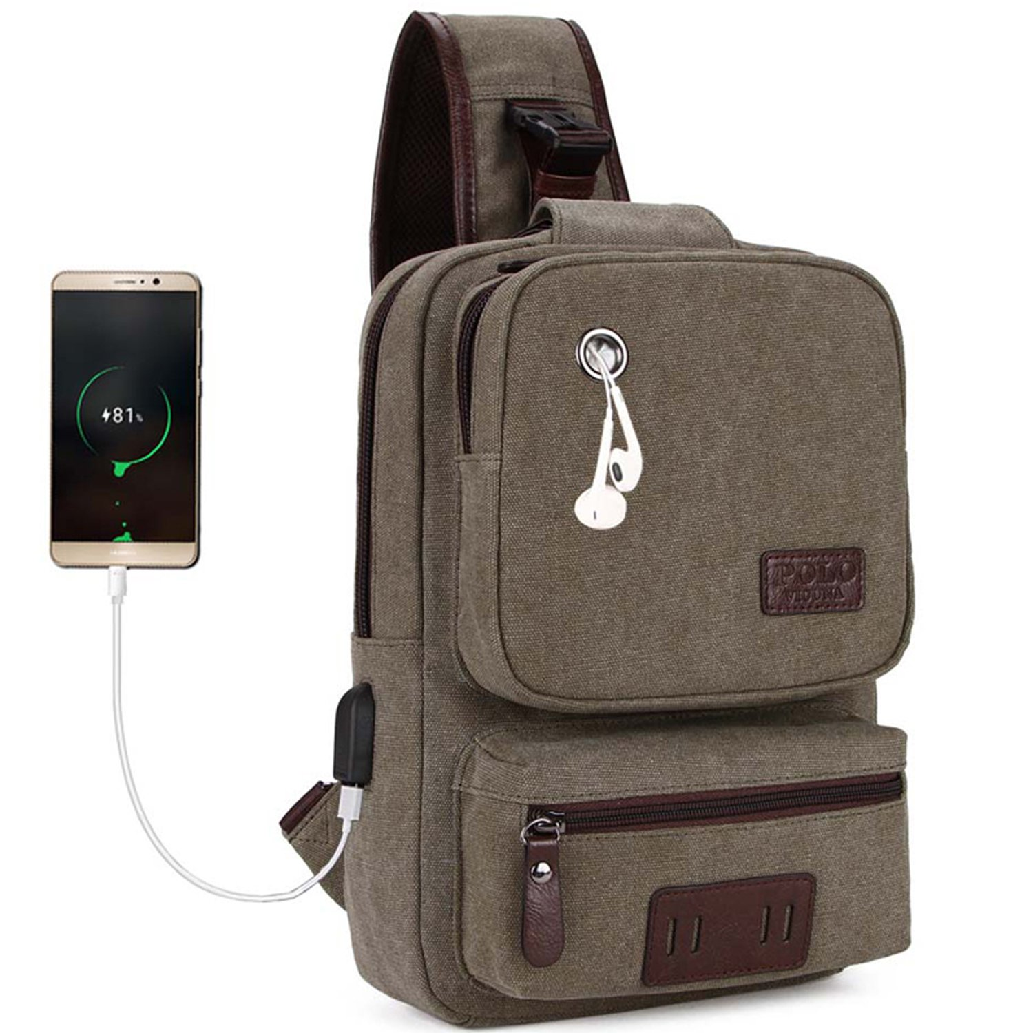 VICUNA POLO Canvas Sling Bag USB Charge Sport Travel Crossbody Backpack For Men(army green)