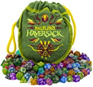 Wiz Dice Halfling's Haversack - 140 Mini Polyhedral Dice, 20 Colors in Complete Sets of 7, Miniature 10mm Pocket Size is Por