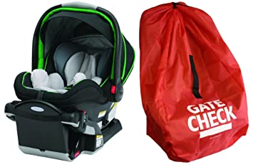 Graco SnugRide Click Connect 40 Infant Car Seat With Gate Check Travel Bag Fern
