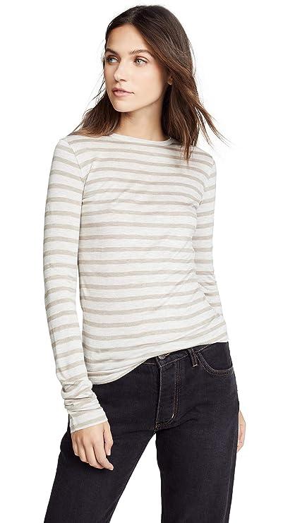 Vince Women's Stripe Long Sleeve Top, Light Heather/Heather Marble, Medium by Vince