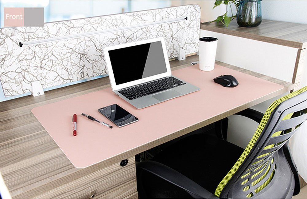 Desk Pad Protecter, Mirstan 31.5'' x 15.8'' PU Leather Large Office Desk Writing Mat Mousepad Waterproof, Dual Sides for Use (Pink&Gray) by Mirstan (Image #6)