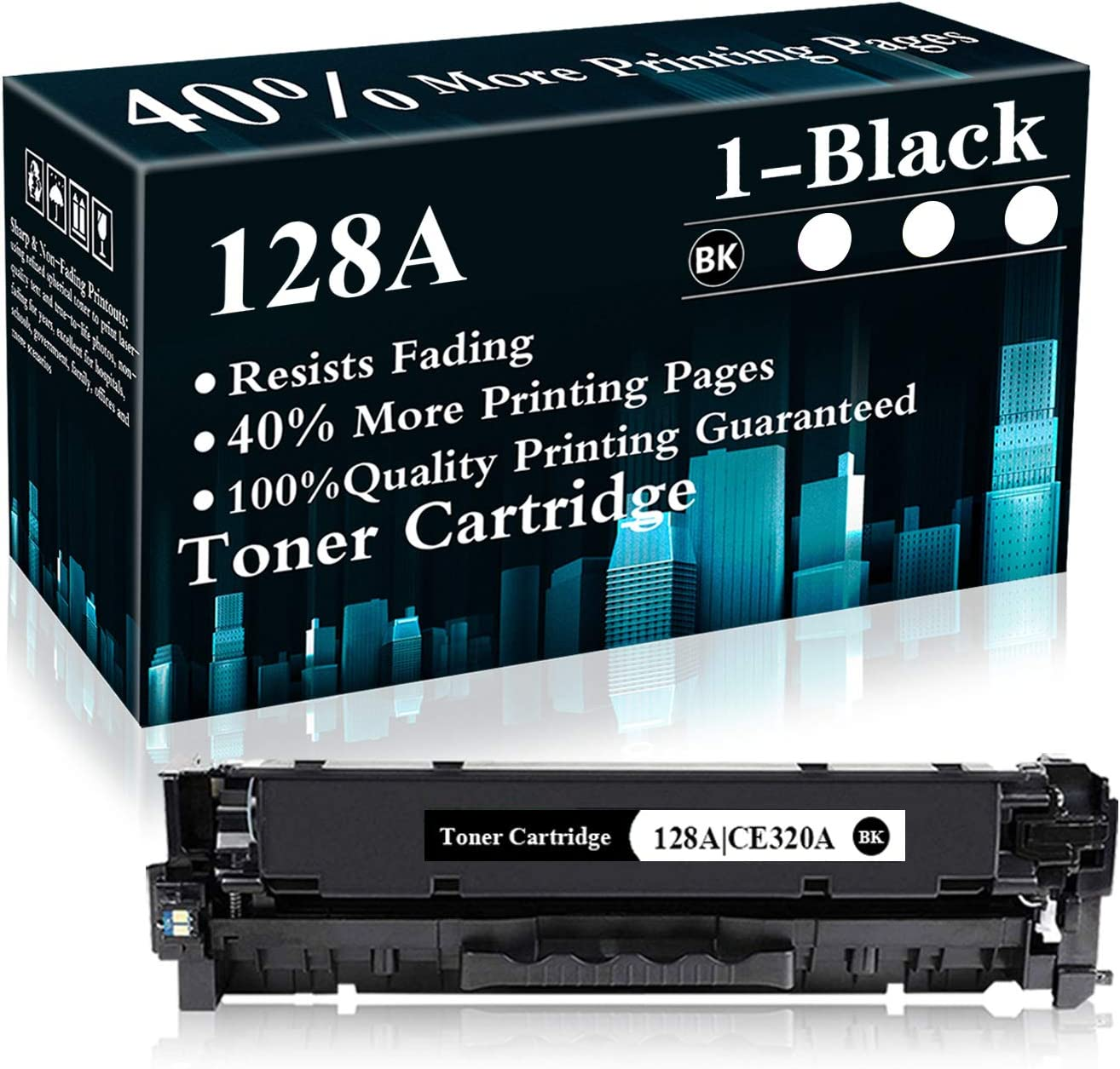 1 Pack 128A | CE320A Remanufactured Toner Cartridge Replacement for HP Color Laserjet Pro CP1525n,CP1525nw,CM1415fn MFP,CM1415fnw MFP Printer,Sold by TopInk