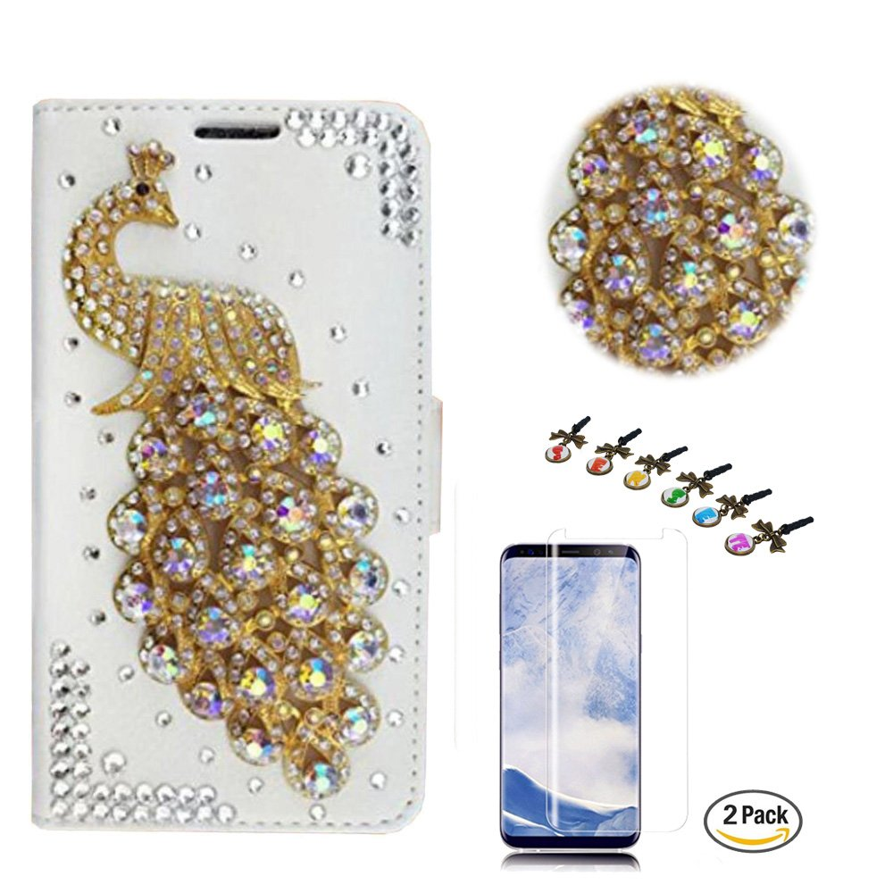 STENES LG Tribute HD Case - Stylish - 3D Handmade Crystal Peacock Design Wallet Credit Card Slots Fold Media Stand Leather Cover for LG Tribute HD with Screen Protector -