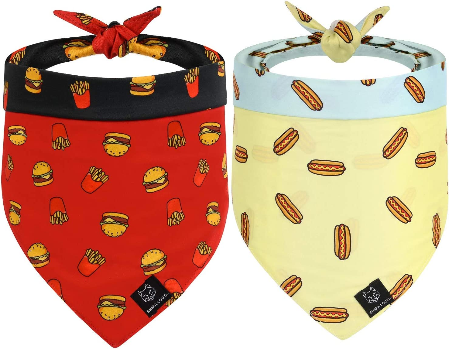 SHIBA LOGIC Reversible Dog Bandanas 2 Pack | Size Medium | Pet Scarf for Girl & Boy Dogs Puppy or Cats | Blue/Yellow Hot Dogs - Red/Black Burgers & Fries