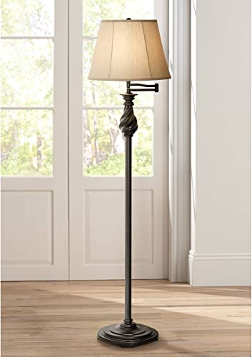 Traditional Swing Arm Floor Lamp Painted Black Bronze Swirl Font Faux Silk Beige Shade