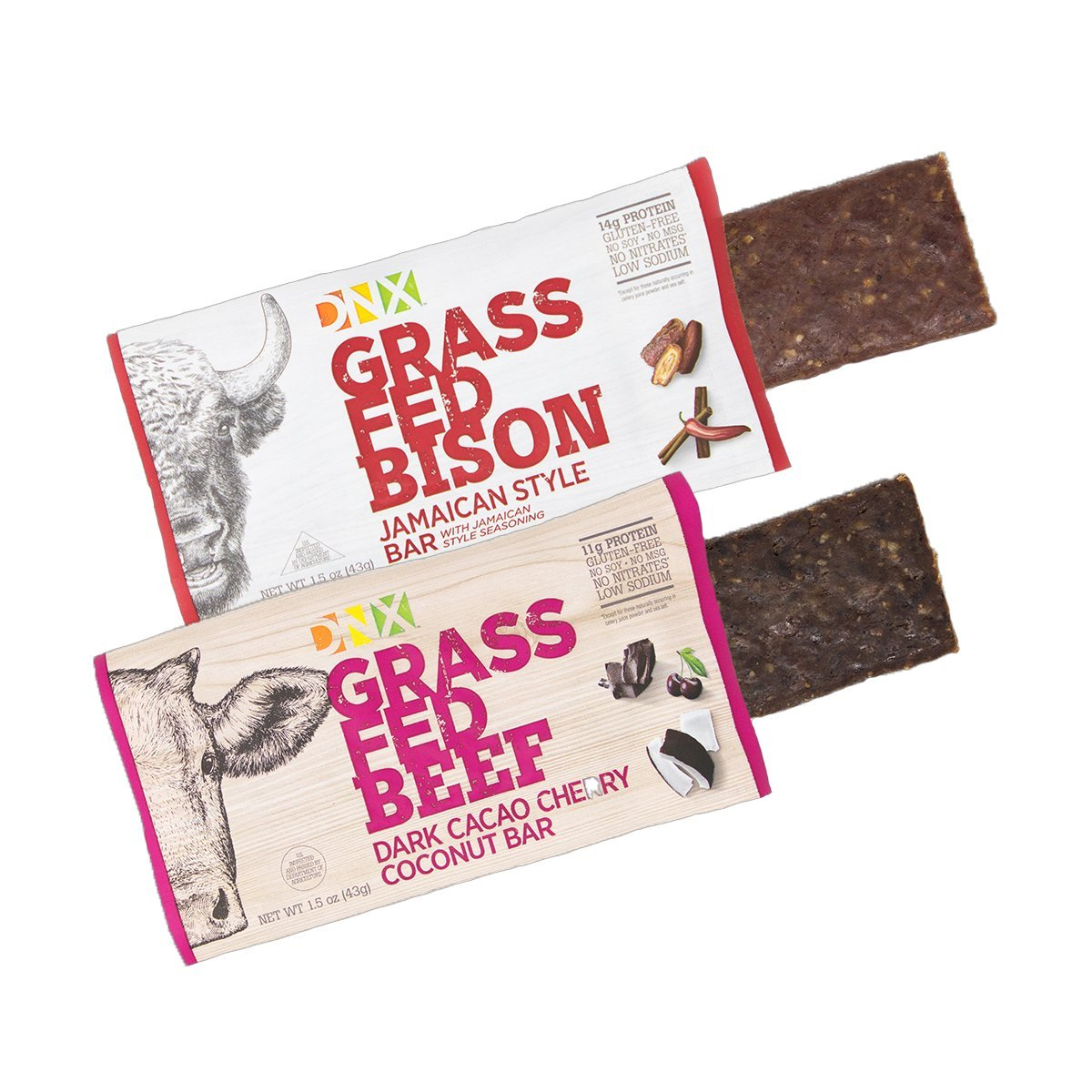 DNX Bar Grass Fed Bison and Beef Paleo Protein Bars Whole30 Approved Epic Taste with Our Jamaican Style Bison Bar and Our Dark Cacao Cherry Coconut Beef Bar (8 Bars)