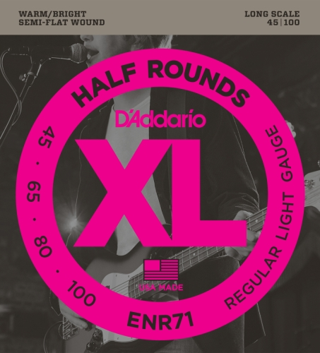 D'Addario ENR71 Half Round Bass Guitar Strings, Regular Light, 45-100, Long Scale Daddario Nickel Bass Strings