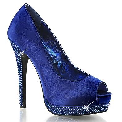 Amazon.com   Womens Magnificent Navy Blue Satin Peep Toe Heels ...