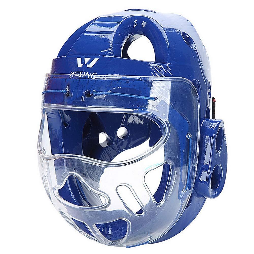 プロフェッショナルボクシングMMAキックボクシングヘッドギアボクシングヘルメットヘッドガードスパアリングムエタイキックブレースヘッド保護フェイスシールド ボクシングヘッドギア (色 : 青, サイズ : M)