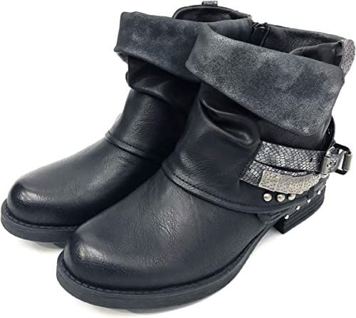 NEW WOMENS LOW HEEL BIKER COMBAT BUCKLE STRAPS STUDDED ANKLE BOOTS SIZE GOTH ZIP