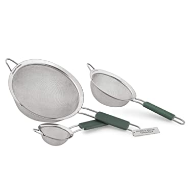 Elisabeth Nielsen Fine Mesh Strainer Set of 3, Use Strainers as a Sieve, Pasta Strainer, a Colander with Handle for Amaranth, as Quinoa Strainer