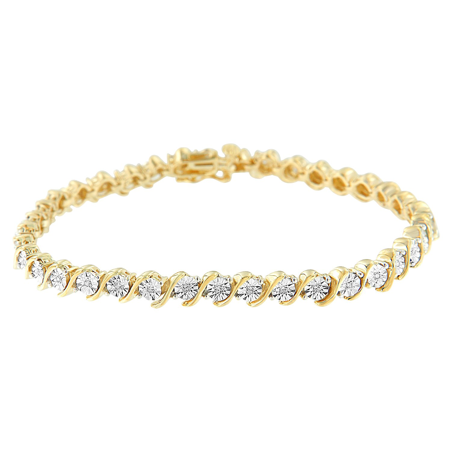 2 Micron 14K Yellow Gold Plated Sterling Silver Diamond S-Link Tennis Bracelet (0.10 cttw, I-J Color, I2-I3 Clarity)