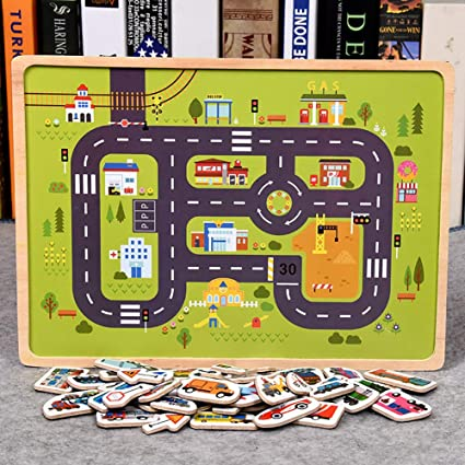 Leoie Wooden Magnetic Puzzles Toy Transport Animal Puzzle Early Learning Cognition Toy Gifts for Children Magnetic Traffic