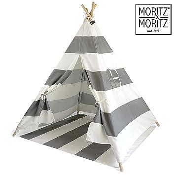 Moritz Moritz Tipi Zelt Für Kinder Grau Gestreift Kinderzelt