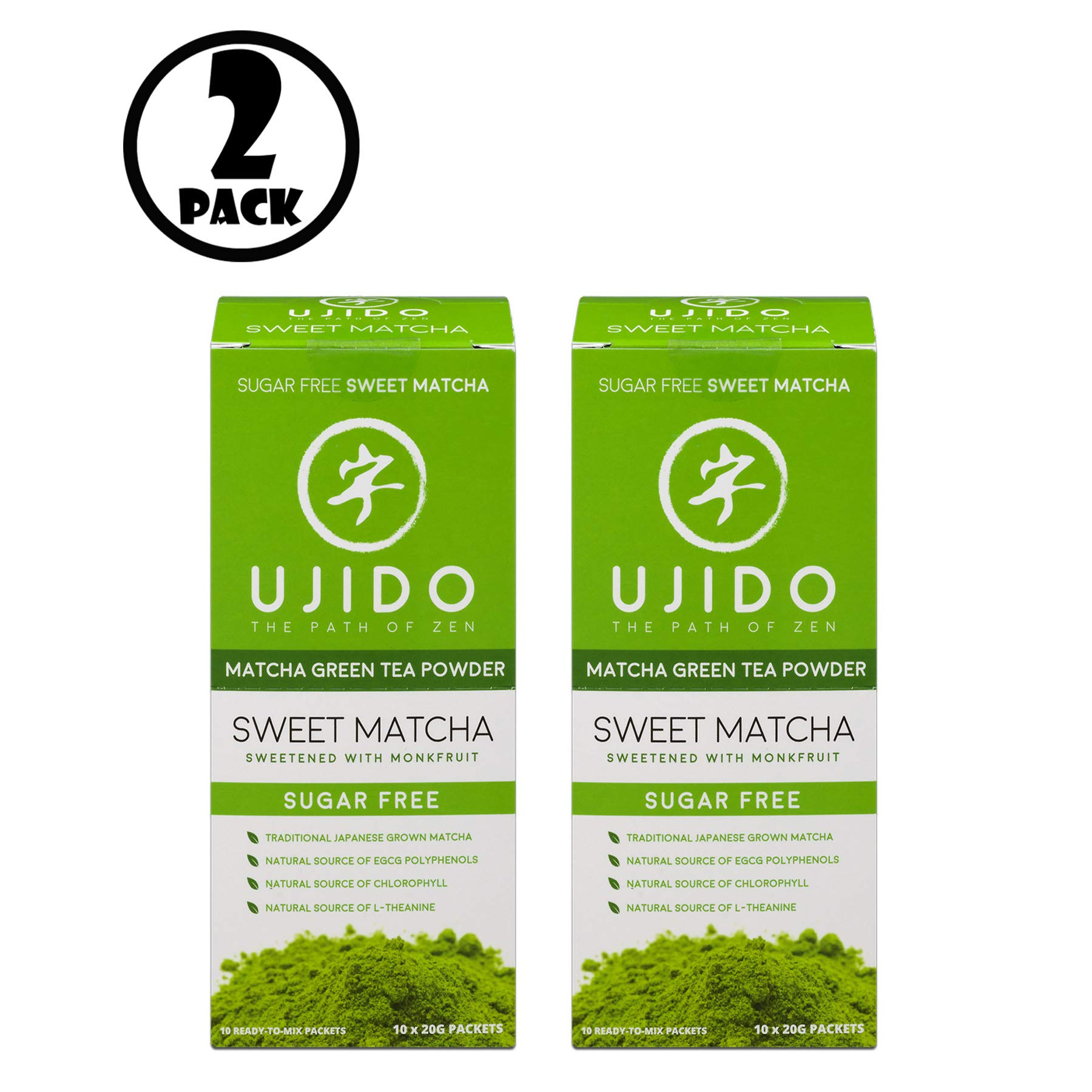 (Pack of 2) Ujido Drink Mix, Sweet Matcha, 0.7 Oz, 10 Packets, 1 Ct. by Ujido