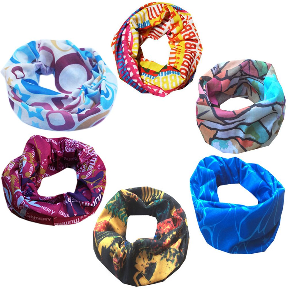 Multi-purpose 6pc Seamless Style Mixed Set Bandanna Headwear Sports Magic Scarf Wrap