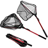 "Enkeeo Foldable Fishing Net Triangular Landing Net with Aluminum Pole and Nylon Mesh, 14.6"" Wide"