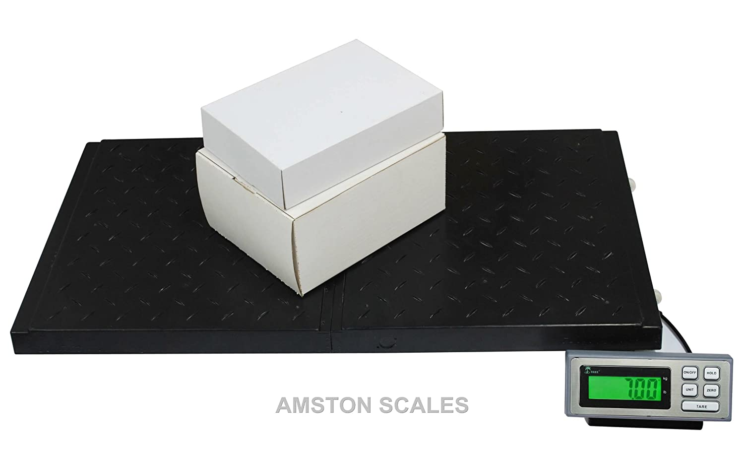 a5a75bbba298 AMSTON SCALES 400 LB x 0.1 LB 38 x 20 Inch Platform Digital Heavy Duty  Welded Steel Floor Bench Shipping Scale
