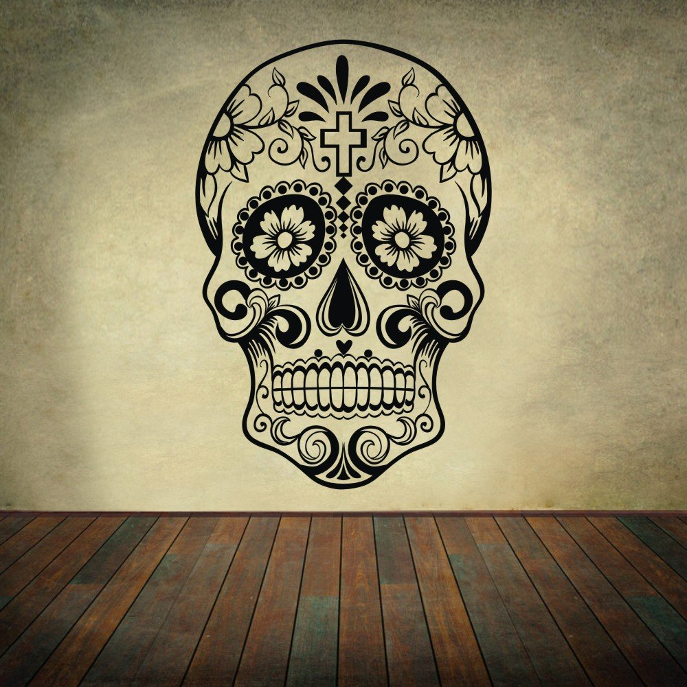 Amazon.com: Sugar Skull Wall Decal Skull Wall Sticker dia de los ...