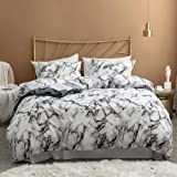 Argstar 3 Pcs King Duvet Cover Set, Marble Printed Bedding Sets, Black Grey and White Abstract Comforter Cover with…