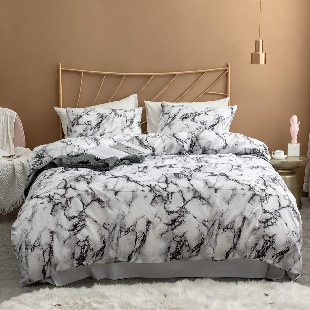 Argstar 2 Pcs Twin Duvet Cover Set, Marble Printed Bedding Sets, Black Grey and White Abstract Comforter Cover with Zipper Ties, Soft Lightweight Microfiber, 1 Duvet Cover and 1 Pillow Sham