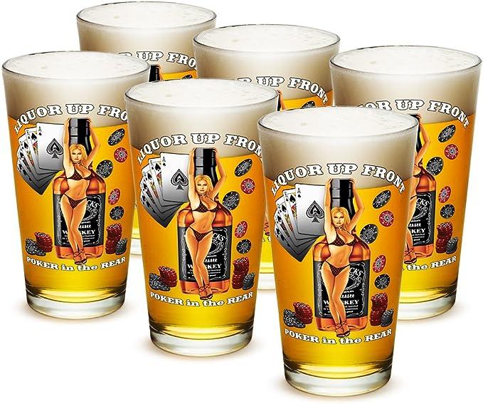 Vasos de pinta – Man Cave Regalos para Men- Liquor up Front ...