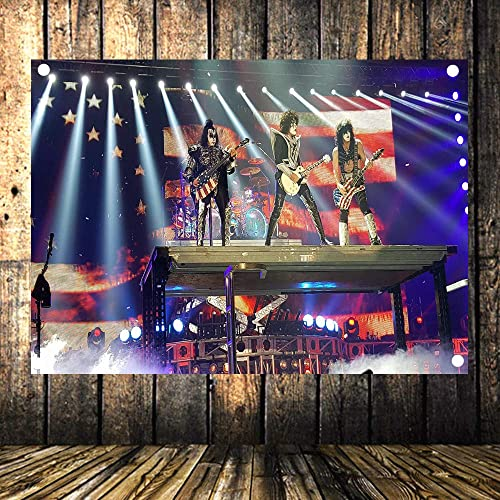 Large KISS Rock and Roll Band Heavy Metal Music Poster Concert Banquet Music Festival Hours Sign 96×144 cm 38X57 inches Flag Banner Tapestry HD Canvas Print Art Background Wall Decor