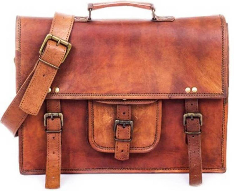 Handcrafted exports 15'' Rustic Vintage Leather Laptop Briefcase Messenger Bag