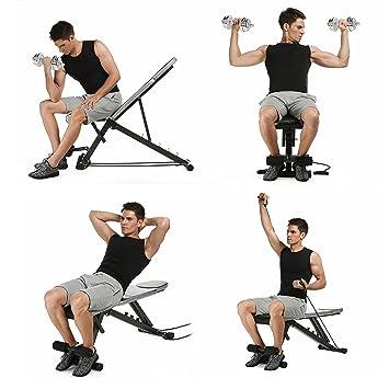mymotto - Banco de musculación regulable plegable AB banco de ejercicios, banco de poid Fitness con declive de inclinación para gimnasio/Ejercicios de ...