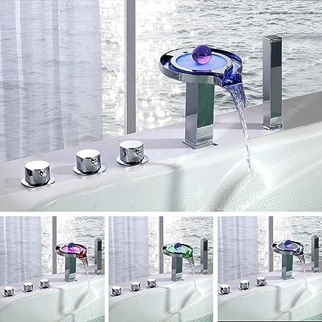 Homelody ® Grifo monomando de cascada para bañera, diseño de ...